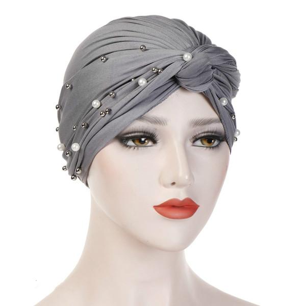 Diadema Hijab islámica Jersey Beads Cap elástico plisado mujeres turbante sombrero nudo Head Wrap accesorios para el cabello elástico