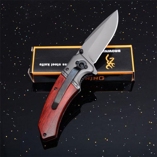 Browning F82 Flipper Katlanır Pocket Knife EDC Survival Kurtarma Destekli 440 Bıçak Hızlı Açık Ahşap Saplı En Iyi Taktik Hediye Bıçaklar P66F Q