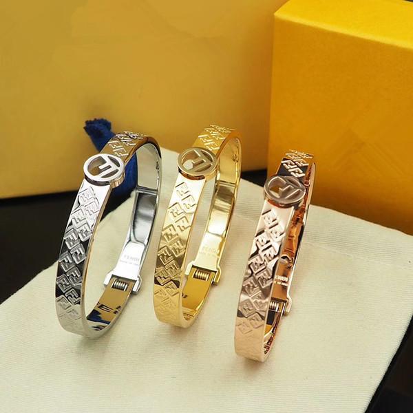 créateur de mode bijoux hommes bracelets en acier inoxydable amour bracelet multi-lettre poignets femmes bracelet pince de printemps