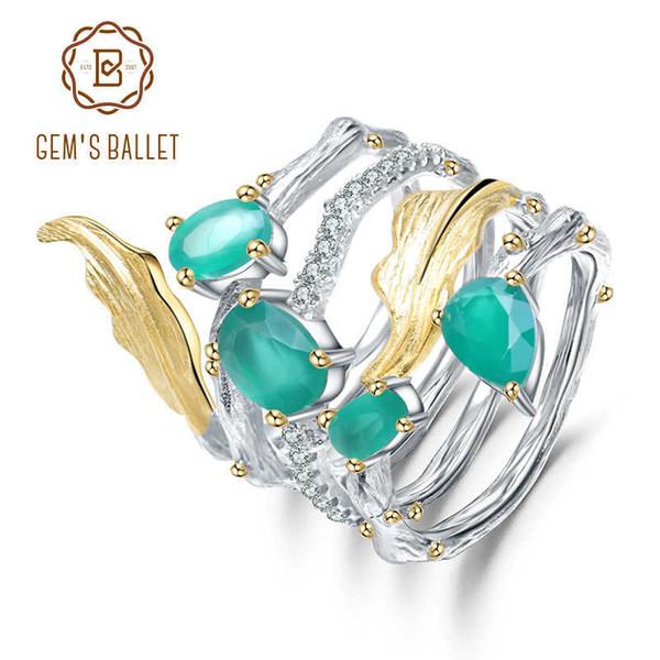 Gemma Balletto 925 Sterling Vintage Neo-gotico Anello 2.26ct Naturale Agata Verde Gemma Anelli di Barretta Per Le Donne Gioielli J 190430