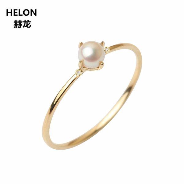 Sólido 14 k ouro amarelo anel de noivado casamento para as mulheres festa menina jóias finas romântico natural de água doce pérola 4 mm rodada