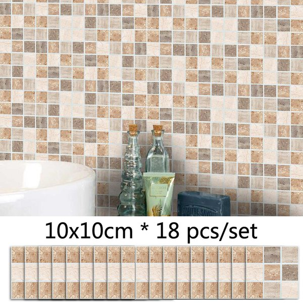 Color Marble Style Tile Mosaic Pattern Wall Sticker Bathroom Waterproof Tile Sticker Kitchen Wall Decor Self Adhesive Stickers
