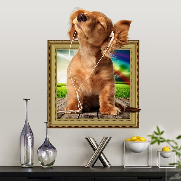 New popular pet store 3D simulation cute bedroom animal room dog wall sticker living room pet shop poster