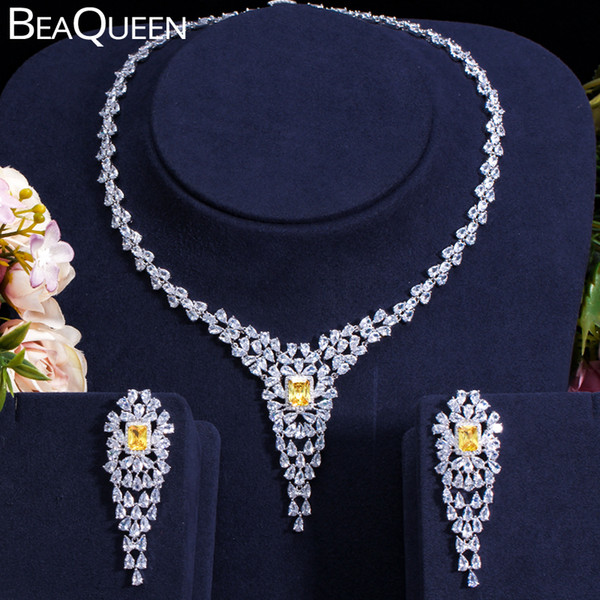 BeaQueen Brilliant Yellow Crystal Jewelry Sets for Women Full CZ Stone Long Earring Necklace Set Wedding Dress Accessories JS200