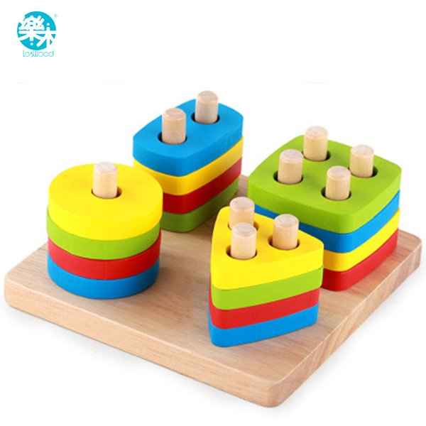 Baby Toys Wooden Blocks Shape Jointed Board Montessori Teaching Leaning Education Building Chopping Block Match Toy Y190606