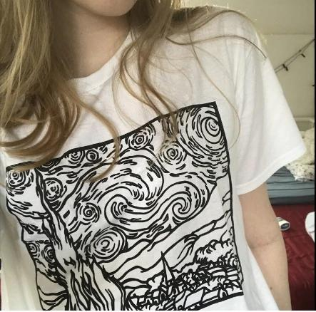 Summer Style Women Clothing Starry Night Outline Van Gogh Art Graphic T-Shirt Women Tumblr Fashion White Tee Casual Tops