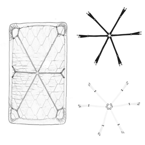 Bed Sheet Long Straps Clips Fixed in 6 directions Adjustable Mattress Cover Grippers Elastic Fastener Anti-slip Belt Suspenders
