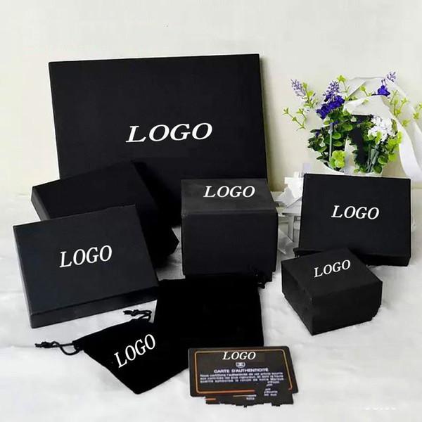 Markenname Mode Schwarz Halskette Anhänger Box Perle Pullover Kette Brosche Armband Ring Ohrstecker Schmuckschatulle Freies Einkaufen