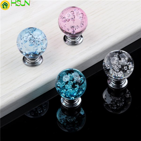Crystal Glass Handle Bubble Alloy Cabinet Knobs Cupboard Pulls Drawer Kitchen Handles For Furniture Handle Hardware Accessories