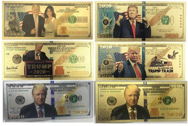 best selling 6 styles new hot Donald Trump 2020 Dollar US President Banknotes Gold Foil Bills Commemorative Coin Crafts America General Election Supplies