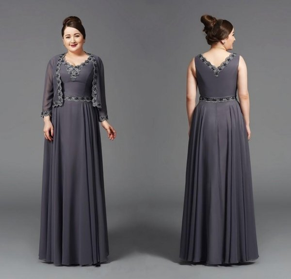 2019 A Line V Neck Mother Of The Bridal Dresses With Long Sleeve Jacket Floor Length Grey Chiffon Appliques Women Formal Gowns
