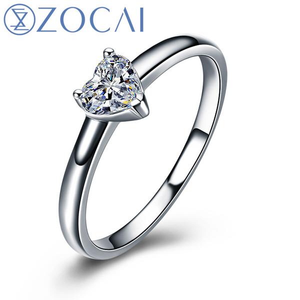 ZOCAI Heart Shape 18K White Gold (Au750) Real 0.18 CT F-G/ SI Heart Cut Diamond Engagement Ring W03672S1123