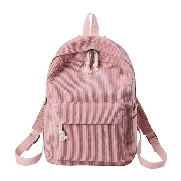 Preppy Style Soft Fabric Backpack Female Corduroy Design School Backpack For Teenage Girls Striped Women #160373