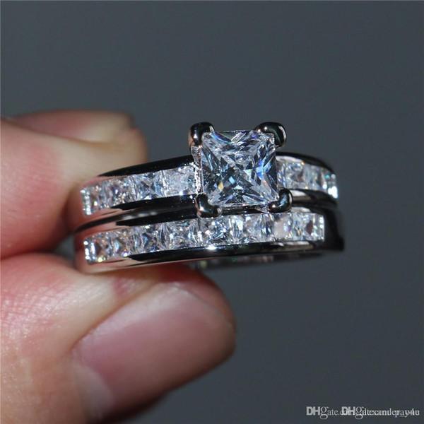 Anelli a fascia in oro 925 con fidanzamento in argento 925 con diamanti simulati a taglio principessa, per donne, dimensioni 5-10