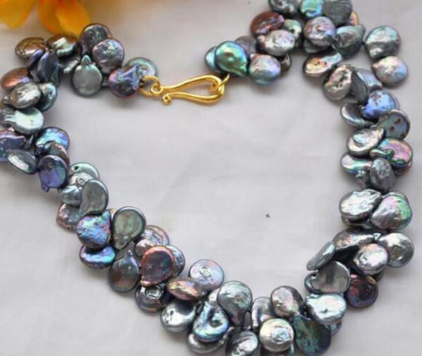 collar Envío gratis ++++ Z5274 NICE 2strands 15mm moneda negro de agua dulce cultivado collar de perlas 17 pulgadas nuevo