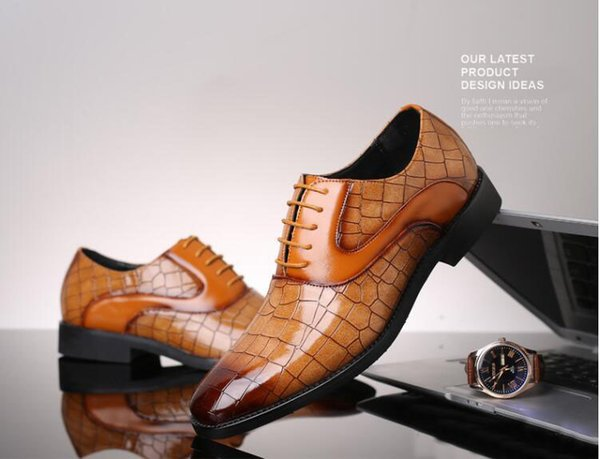 Luxury Crocodile Pattern Men Leather Shoes Lace-up Designer Business Casual Leather Shoes Men Formal Wedding Party Shoes