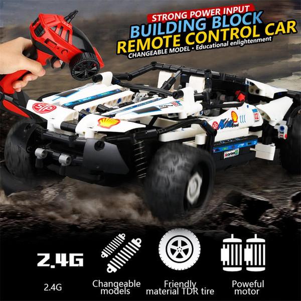 Télécommande voiture 4 canaux 10-en-1 bricolage bloc de construction haute vitesse télécommande tout-terrain véhicule RC combat jouet cadeau