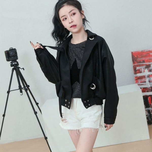 Fashion Office Lady Faux Leather Jacket for Women Solid Loose Winter PU Jackets Turn-down Collar Womens Coats