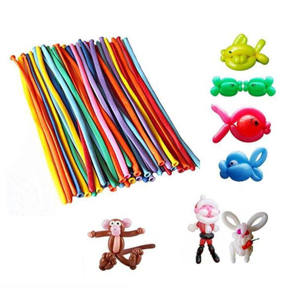 100 Stücke in 1 Los Farben Sortierte Farbe Magie Lange Ballon Modellierung Entertainer Verdrehen Tier Gestaltung Ballons
