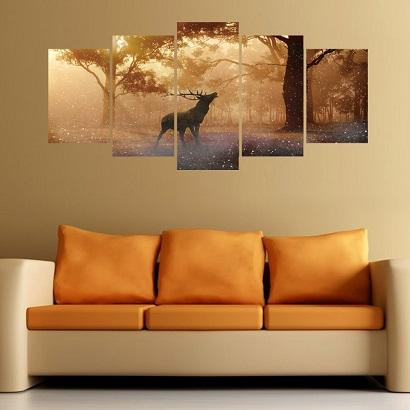 Standard Size YM-WS-014 New combination of 3d three-dimensional wall poster creativity 5 forest elk personality wall sticker