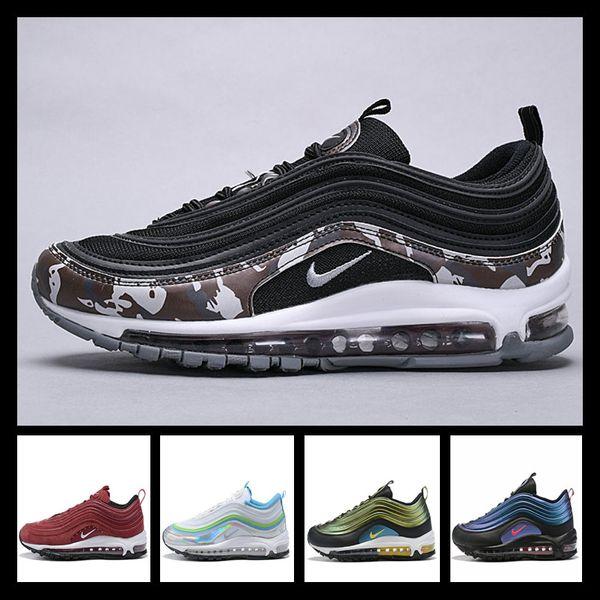 Acheter Avec Montre De Sport Designer Shoes Men Women Nike 97 AIR MAX Chaussures Og Triple Blanc Chaussures De Course OG Metallic Gold Silver Bullet
