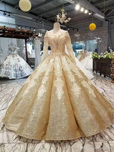 Ouro Sparkly Lantejoulas vestido de Baile Vestido de Noiva Luxo Dubai Árabe Mangas Compridas Frisada Fora Do Ombro Espartilho Voltar Princesa Tssels Vestido De Noiva