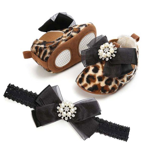 Leopard Princess newborn baby girl shoes baby designer shoes bows diamond Headbands 2pcs/set baby girl shoes Infant First Walker Shoe B11