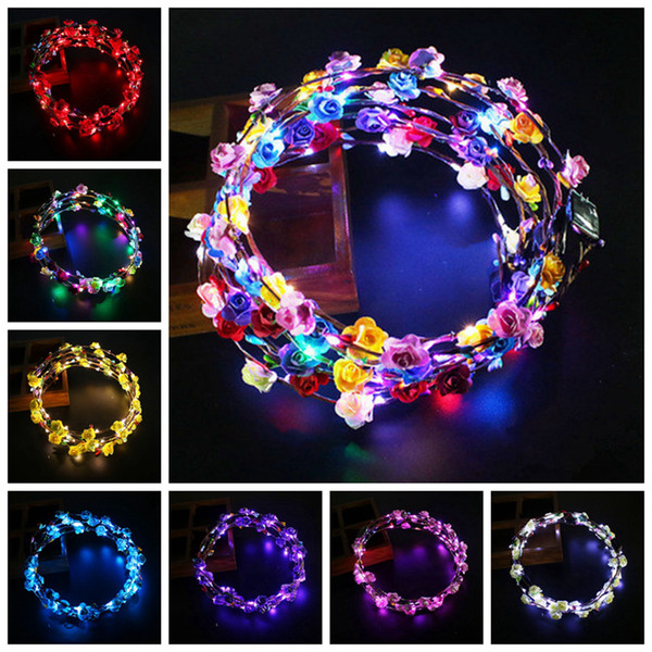 top popular LED Light Up Wreath Headband Women Girls Flashing Headwear Hair Accessories Concert Glow Party Supplies Halloween Xmas Gifts RRA2074- 2019