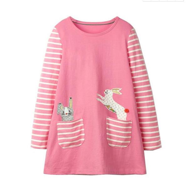 2019 nuove neonate di Pasqua stampe abito manica lunga bambini stampe animali boutique abiti abito in cotone 100%