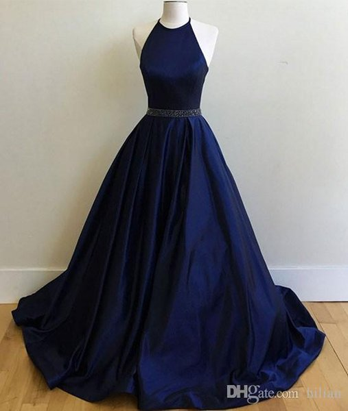 Women Fashion Blue Halter Sexy Long Full Length Ball Gown Long Evening Dress Prom Dress For Formal Occasion Party Hand made Plus Size