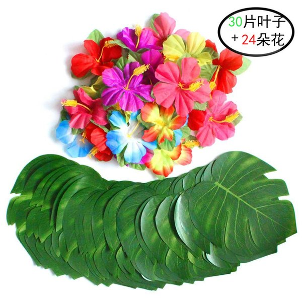 Artificial Tropical Palm Leaves and Silk Hibiscus Flowers Party Decor Monstera Leaves Hawaiian Luau Jungle Beach Theme Party Decorations