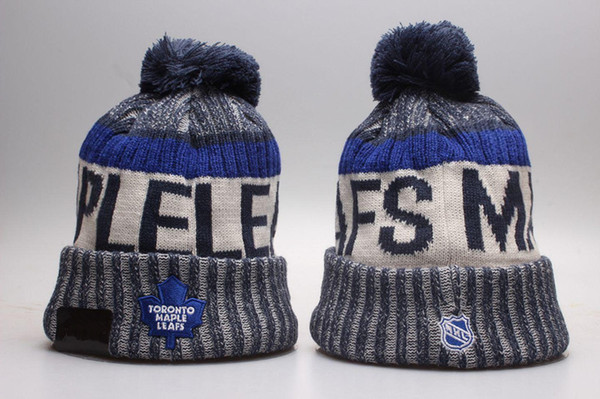 New hockey Beanies Football Beanies 2019 Sideline Cold Weather Sport Knit Hat Pom Pom Hats Hot 32 Team Color Knits Mix Match Order All Caps