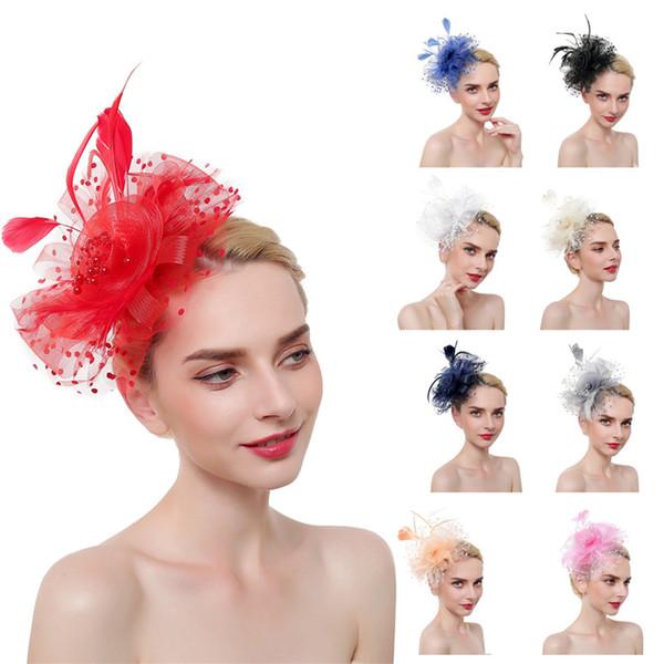 Women Fascinators Hat Party Headband Wedding Hat Pillbox Hats Cocktail Headwear