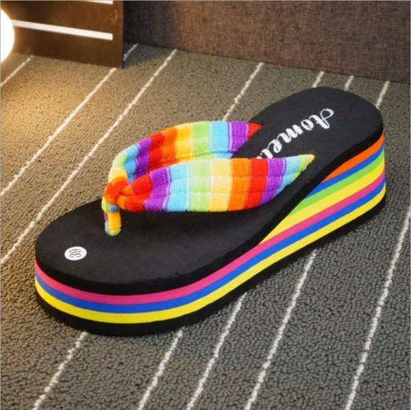 wholesale Korean style hot women's flip-flops loafer casual fashion colorful slippers sponge cake high heel deslick towelling cloth baboosh