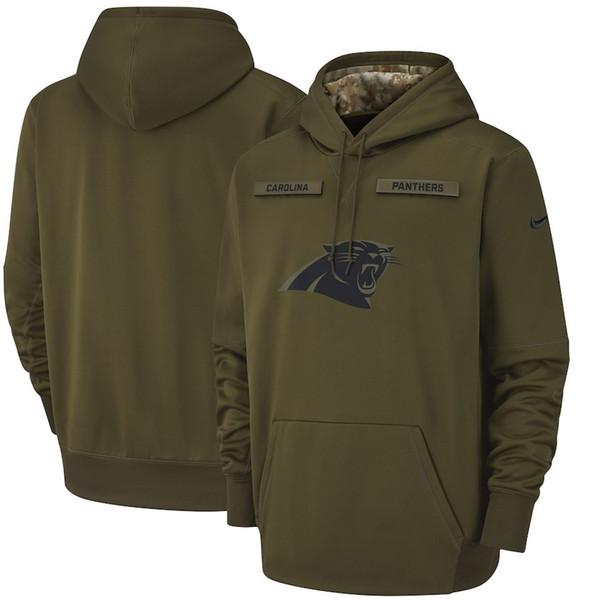 2018 homens Carolina Panthers camisola saudação ao Serviço Sideline Therma Desempenho pulôver Olive
