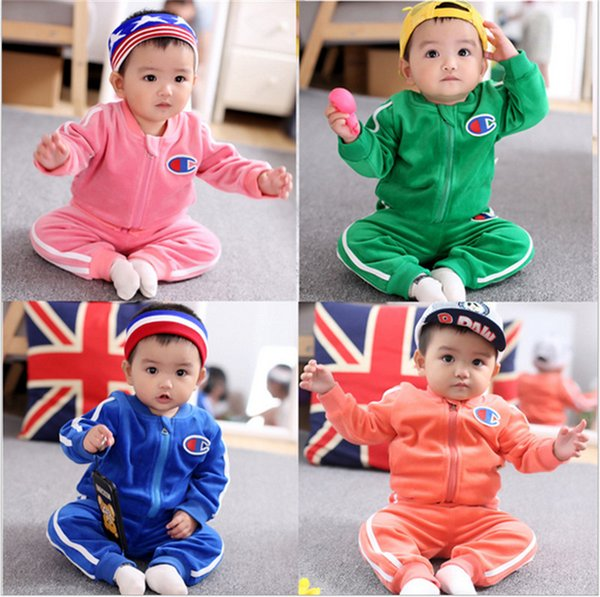 Champion Brand Kids Clothing Set Baby Long Sleeve Flannel Tracksuits Velvet Zip Hoodies Jacket Coat and Pants Two Piece Outfits Cloth B81901