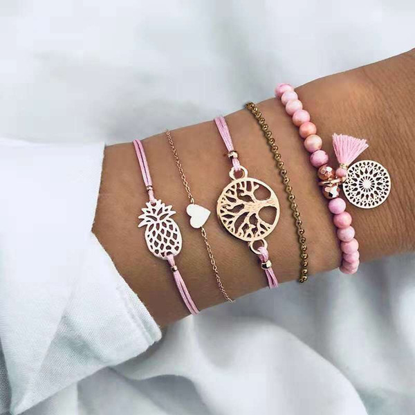pineapple tree rope chains for women pink tassel beaded bracelet girl heart link chain charm bracelets 5pcs set western hot sale jewelry
