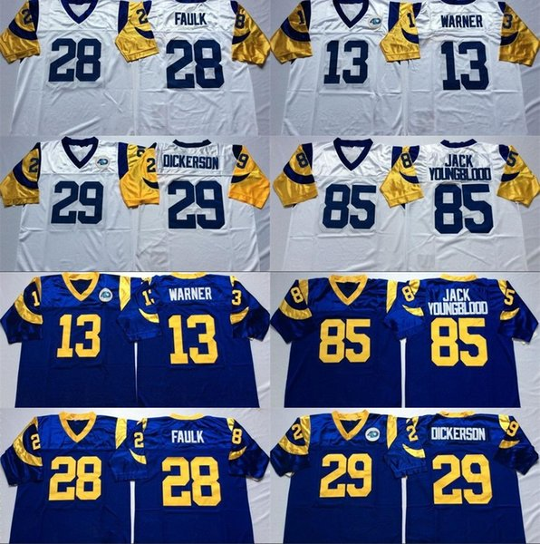 super popular 2fd83 aaf96 2019 Rams 85 Jack Youngblood Jersey Men 13 Kurt Warner 28 Marshall Faulk 29  Eric Dickerson 75 Deacon Jones Jersey Blue White From Trade_2018, $19.29 |  ...