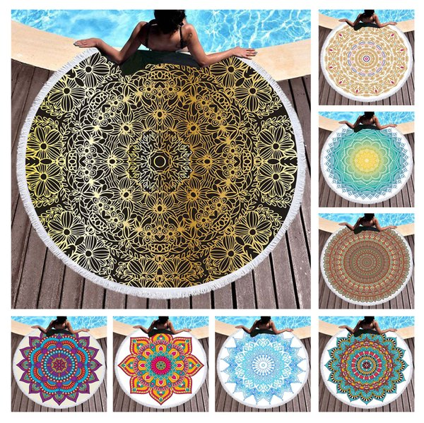 """Free shipping Ethnic Classic Indian Mandala Flower Pattern Big Round Pool Beach Towel Home Decor Wall Hanging Tapestry 150cm/59"""""""