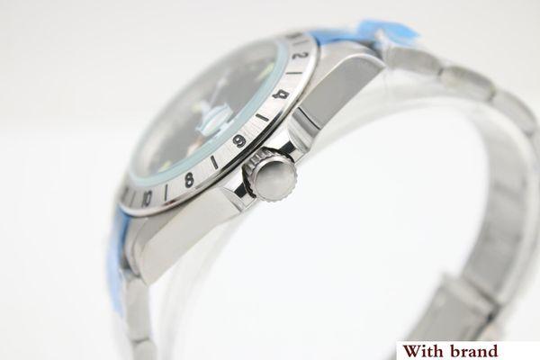 Nuevo vendedor caliente Reloj de lujo Hombres Explorar Dial negro Banda de acero inoxidable Reloj mecánico Montre Homme
