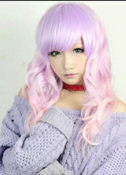 Parrucca Lolita Rayon colore rosa lavanda, colorazione libera