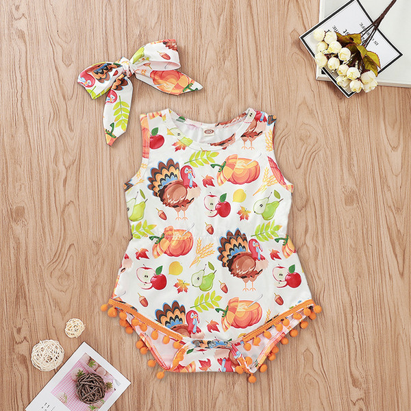 Thanksgiving Baby Turkey Print Onesie 2019 Kids Festival Clothes Infant Toddler Girls Sleeveless Pom Pom Triangle Rompers with Headband