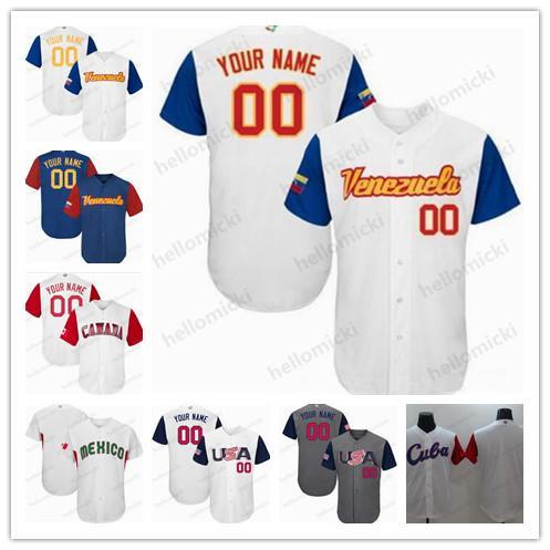 Squadra personalizzata USA Venezuela Canada Giappone Dominicana Italia Porto Rico Personalizzato 2017 World Baseball Qualsiasi nome Any Number Mens jersey