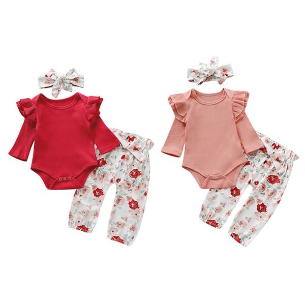 Bambino appena nato del pagliaccetto Set infantile delle ragazze Solid Knit Lace maniche lunghe pagliaccetto Kids Designer pantaloni che coprono insieme Bow-Tie Poco floreale con fascia