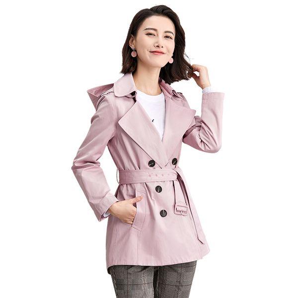 Einfarbig Abnehmbarer Kapuze Trenchcoat Frauen Gürtel Schlanke Windjacke Outwear 2019 Neue Ankunft Frühling Harajuku Stil Lange Mäntel