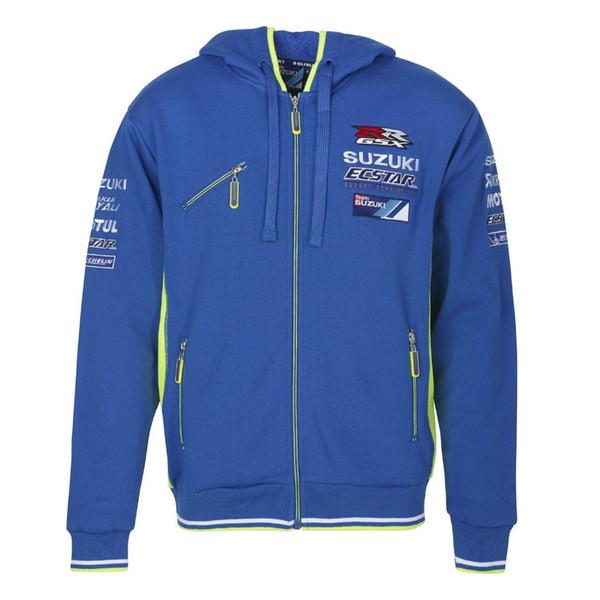 Chaqueta de moto GSXR azul MOTO GP Coat equipo de carreras Moto suéter locomotora Ropa deportiva Parabrisas Moto sudadera con capucha
