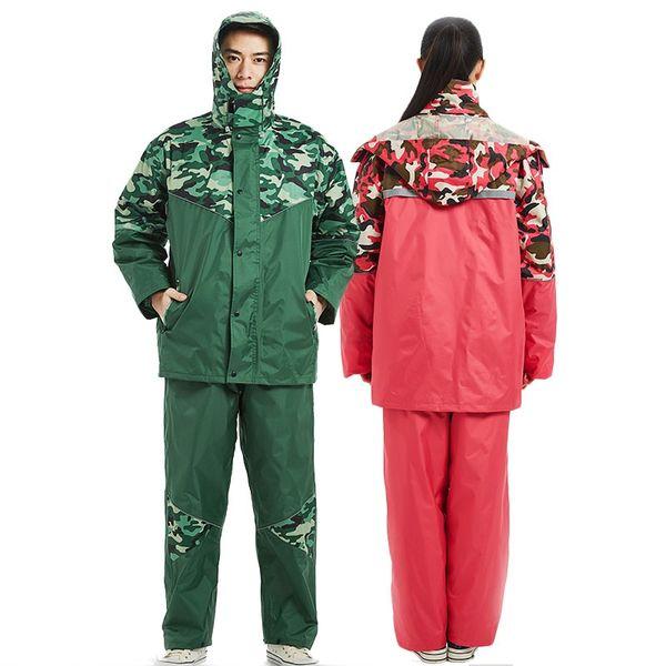 QIAN Marke Undurchlässige Regenmäntel Frauen / Männer Jacke Hosen Set 2 Stücke Regen Poncho Dicker Polizei Arbeitskleidung Motorrad Regenanzug # 219953