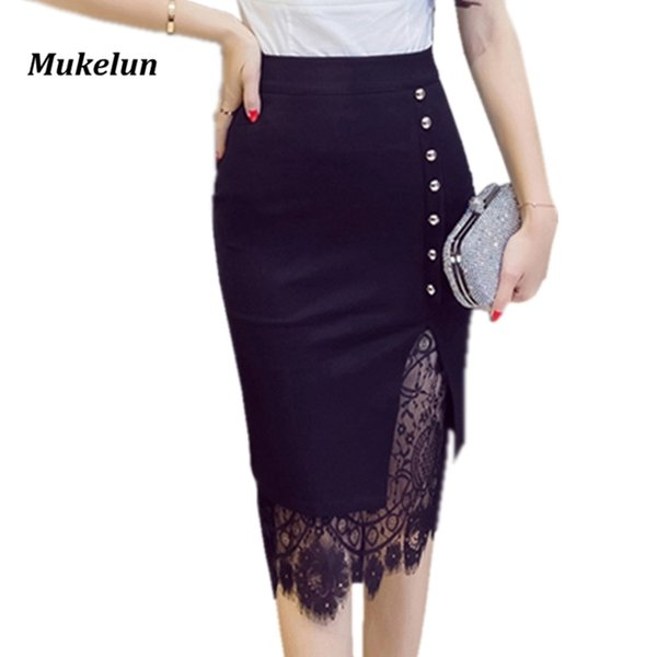 Women's Skirt High Waist Pencil Skirt Summer 2018 Fashion Women Knee Length Lace Patchwork Lady Formal Work Skirts Plus Size Y19041901