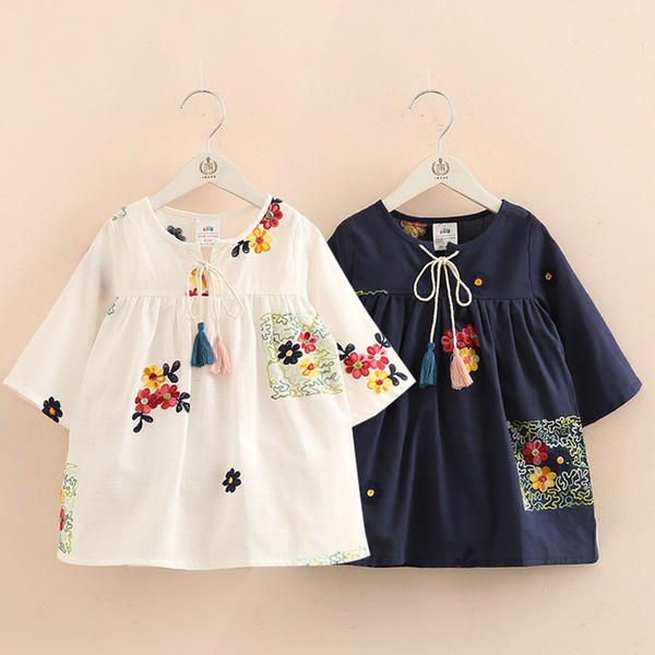 best selling 2019 Spring Autumn New Arrival 2-12T Children Kids Clothing Blue White Color Long Tops Baby Girls Tassels Loose Blouses Shirt Y200704