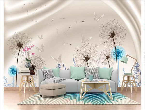 Custom 3d photo murals wall paper home decor Nordic style dandelion living room sofa TV background wall paper for walls papel de parede